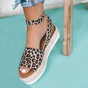 Shoes - NEW Espadrilles Leopard/Cheetah Platform Sandals